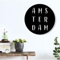 Schwarz & Weiß Amsterdam - Glasbild Round Art Glas 50 cm