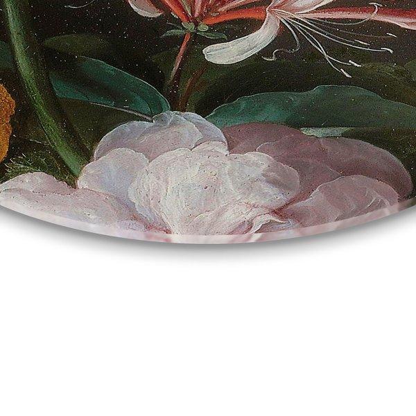 Stillleben mit Blumenvase Jan Davidsz de Heem - Alte Meister - Berühmte Gemälde - Detail - Glasbild Round Art Glas 50 cm