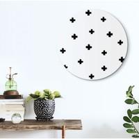 Schwarz & Weiß Kreuze - Glasbild Round Art Glas 50 cm