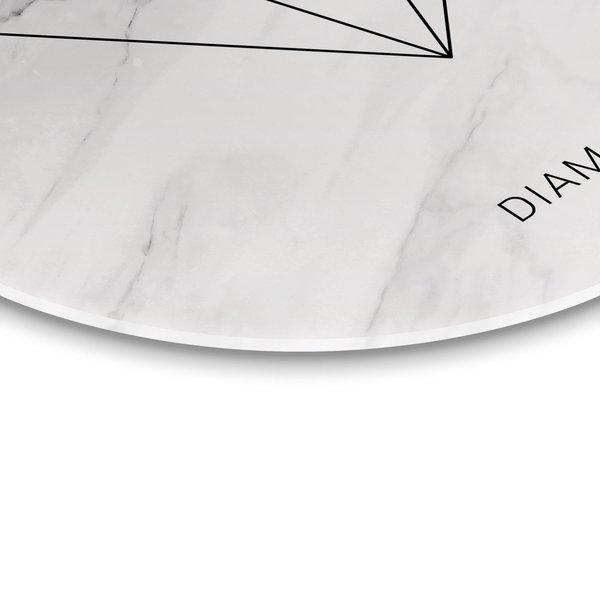 Schwarz & Weiß Diamant - Glasbild Round Art Glas 70 cm