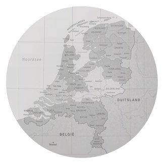 Glasbild Schwarz & Weiß Karte Holland vintage