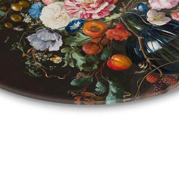 Alte Meister Stillleben Vase mit Blumen - Glasbild Round Art Glas 70 cm