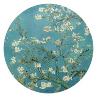 Mandelblüte Vincent van Gogh - Berühmte Gemälde - Blumen - Kunst - Glasbild Round Art Glas