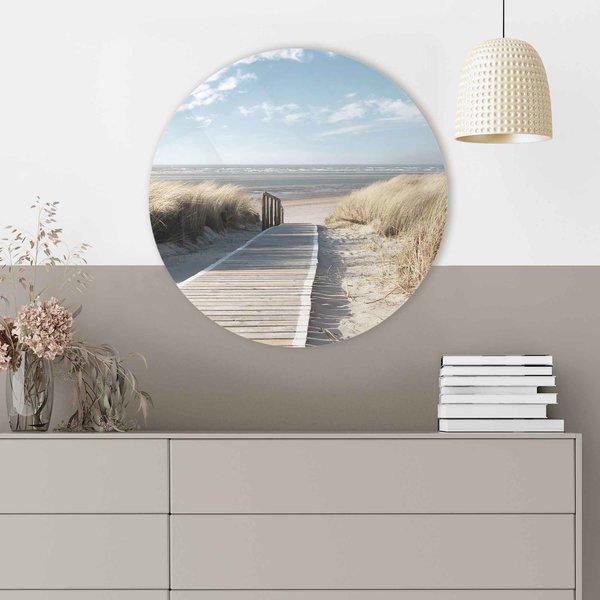 Weg durch die Dünen Strandbilder - Ostsee - Sonne - Urlaub - Glasbild Round Art Glas