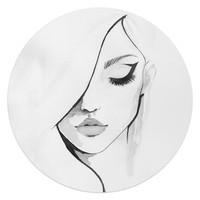 Gesicht Frau - Kunst - Modern - Glasbild Round Art Glas