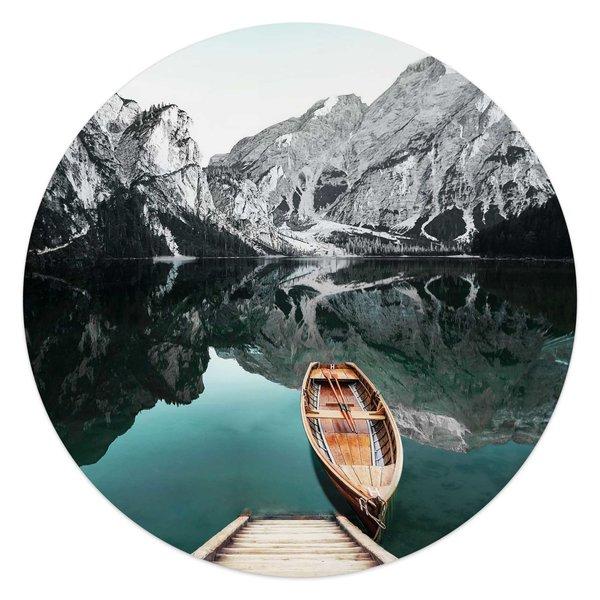 Berg See Rocky Mountains - Glacier - Winter  - Glasbild Round Art Glas