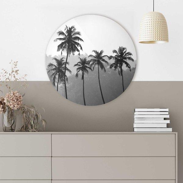 Palmen Naturmotiv - Wald - Tropisch - Glasbild Round Art Glas