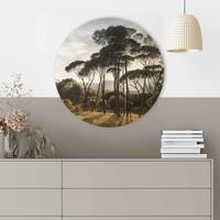 Italienische Landschaft Alte Meister - Hendrik Voogd - Villa Borghese - Rome  - Glasbild Round Art Glas