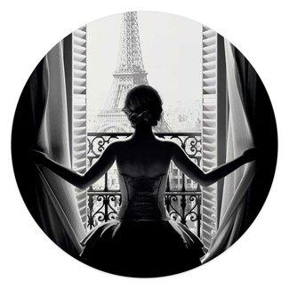 Glasbild Frau in Paris Eiffelturm - Stadt der Liebe - Ausblick
