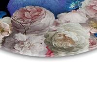 Pfau Tiermotiv - Vogel - Blumen - Modern - Glasbild Round Art Glas
