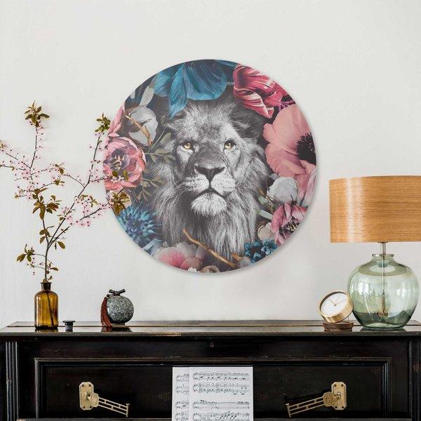 Löwe Blumenkranz - Pflanzen - Farbenfroh - Glasbild Round Art Glas