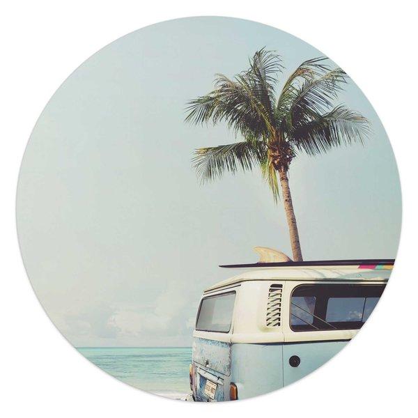 Sommergefühle Bulli - Palmenbaum - Surfen -  Freiheit  - Glasbild Round Art Glas
