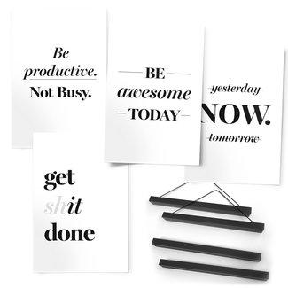Premium Poster 4er Set Get shit done Englischer Text - Motivation - Zitat