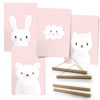 Pink Sweeties Kaninchen - Bär - Wolke - Babyzimmer - Premium Poster 4er Set Kunstdruck Papier 21 x 30 cm