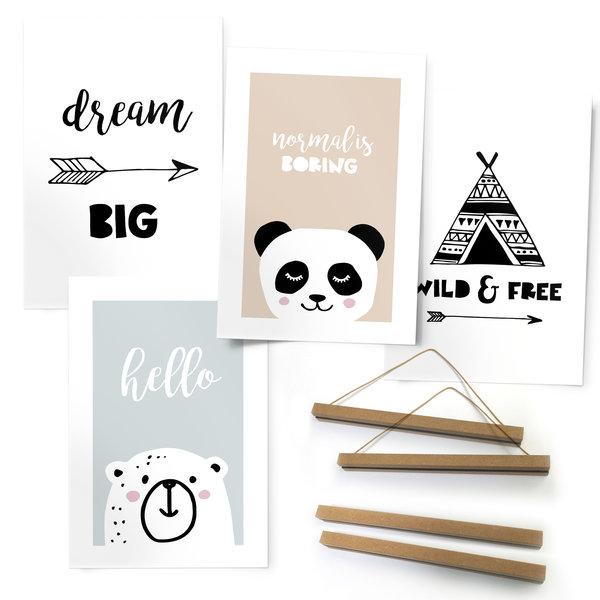 Hello Kids Zitat - Babyzimmer - Tiere - Premium Poster 4er Set Kunstdruck Papier 21 x 30 cm