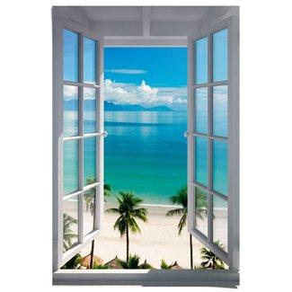 Poster Fenster zum Strand