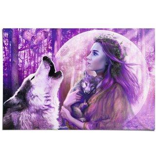 Poster Vollmond Wölfe