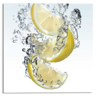 Glasbild Zitrone Splash