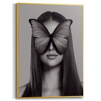 Gerahmtes Bild Frau mit Schmetterling