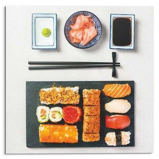 Glasbild Sushi Menu