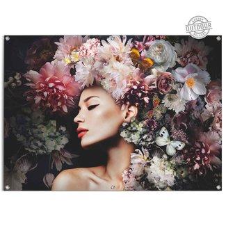 Gartenposter Frau mit Blumenhut