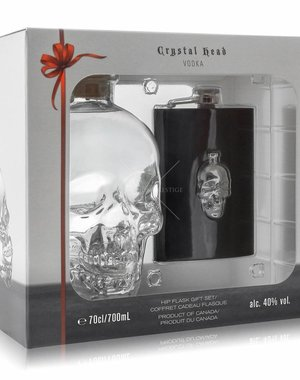 Crystal head Hipflask Giftpack 70CL