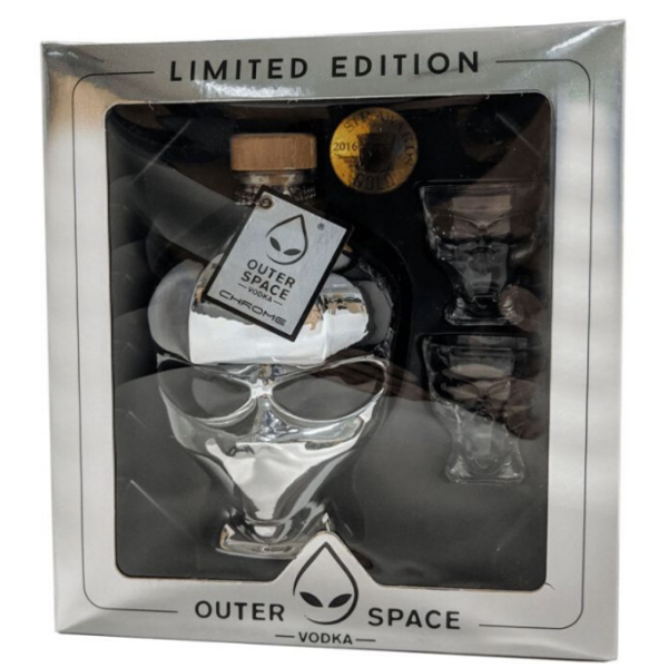 Outer space Alien Head Chrome 70CL + 2 glazen Giftpack 70CL