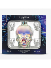 Crystal head Aurora + 4 glasses 70 cl