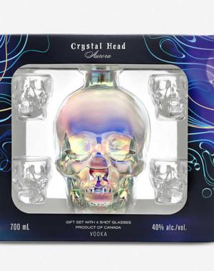 Crystal head Aurora + 4 glasses 70 cl