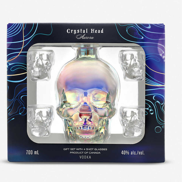 Crystal head vodka in Gift box + 4 glasses