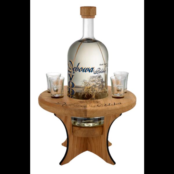 Debowa Oak Vodka 0.7L Bijzettaffel en 4 glaasjes