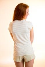 Short sleeve striped shirt for women
