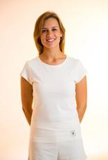 Camiseta mujer cuello redondo y manga corta.
