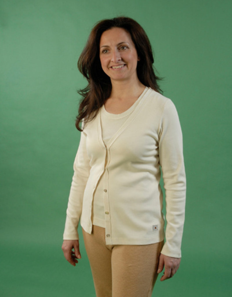 Womens jacket with tricot strip and long sleeves.