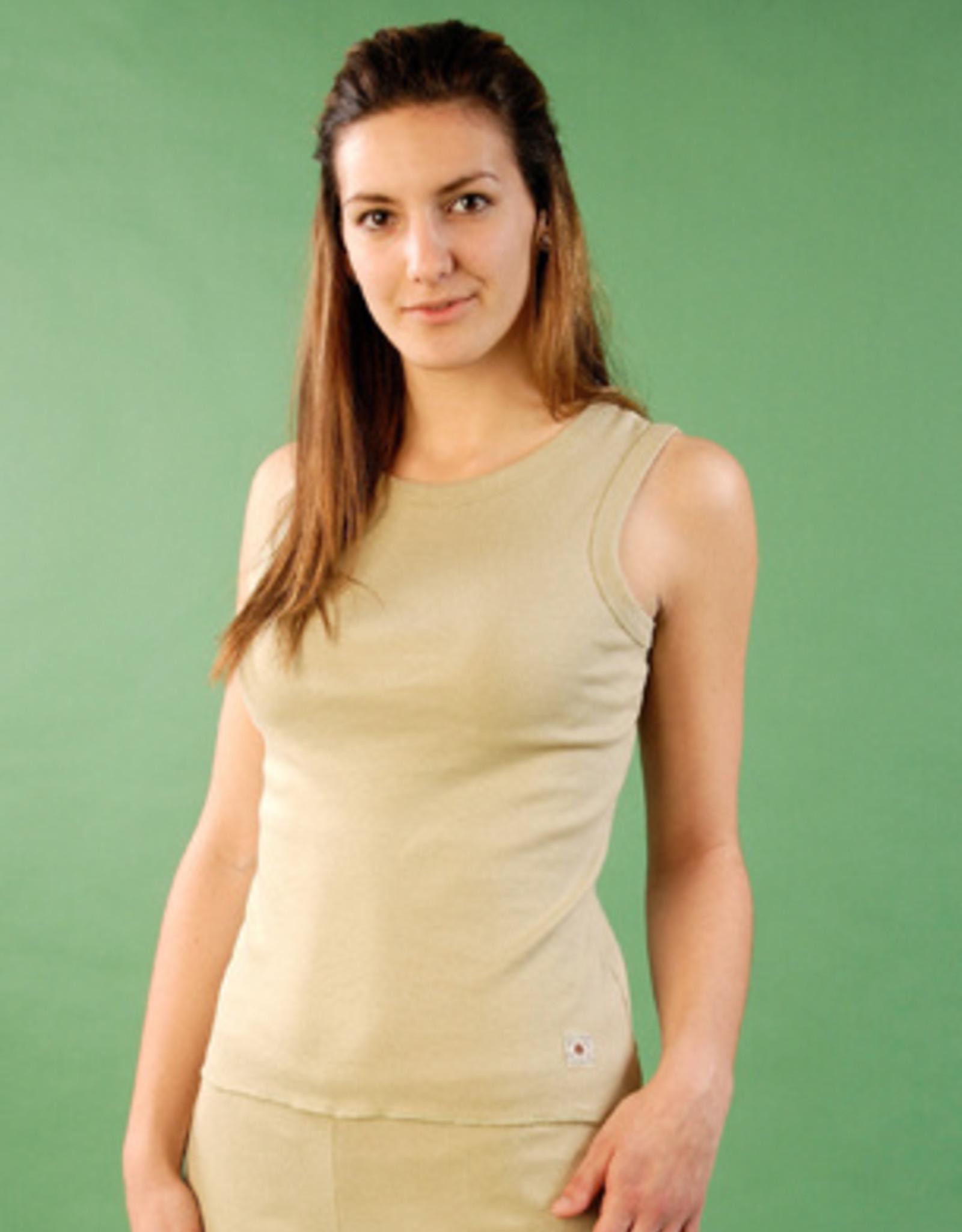 Camiseta mujer de cuello redondo y sin mangas.