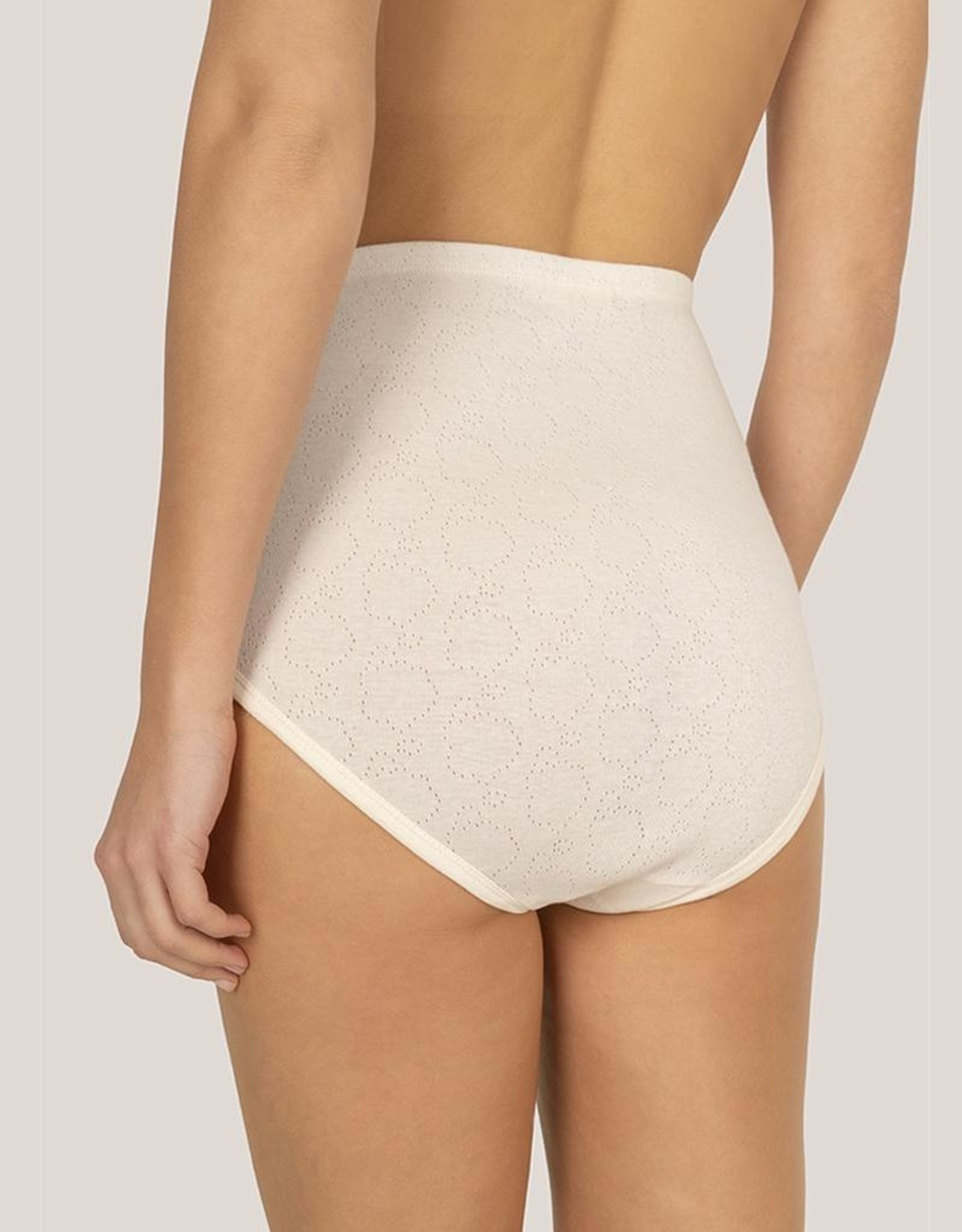Extra high brief made with openwork fabric