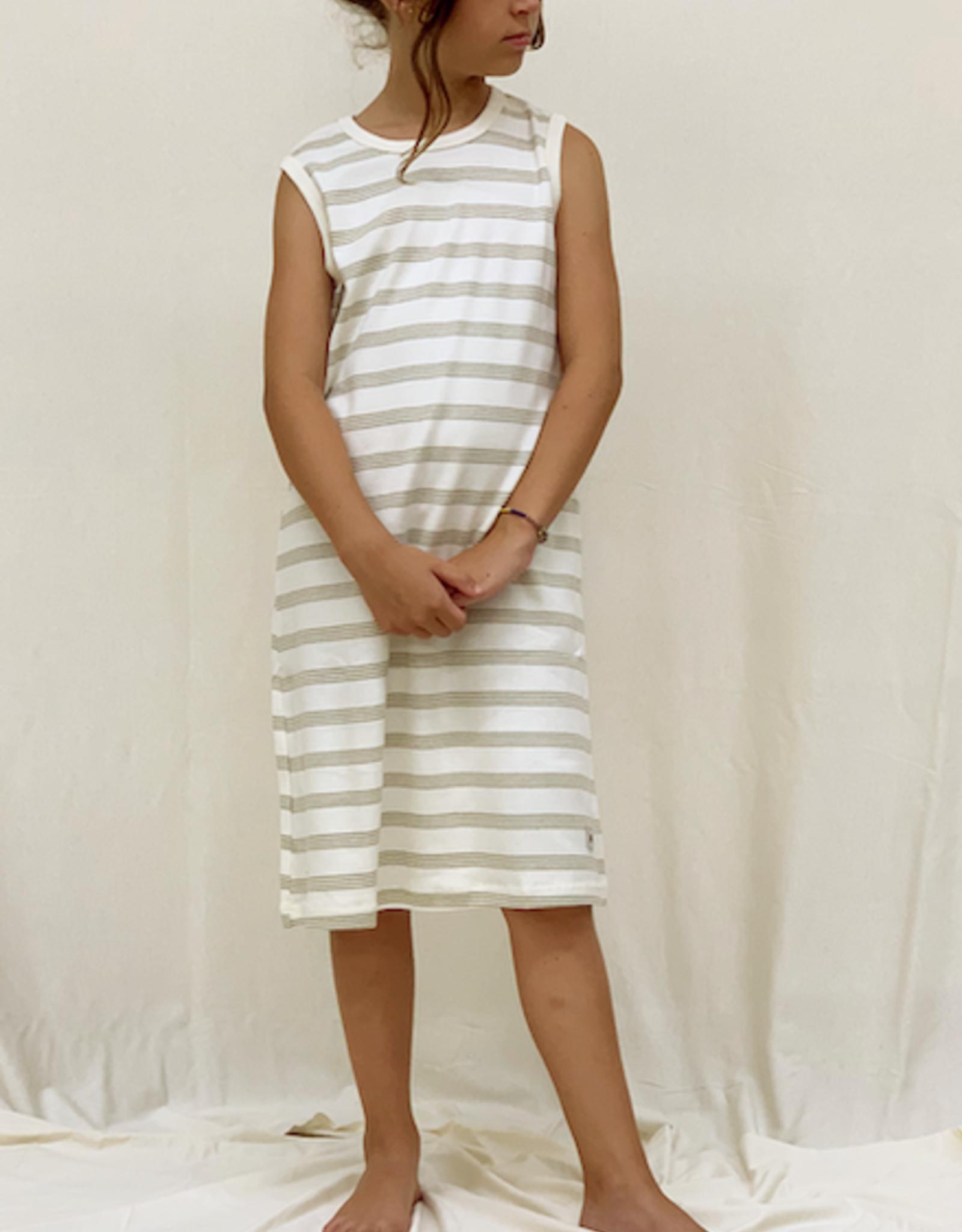 Vestido junior listado sin mangas. Tallas 2, 4, 6 años.