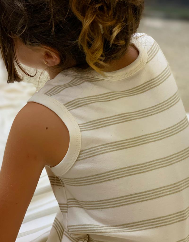 Junior sleeveless dress with stripes fabric. sizes 2, 4, 6 years.