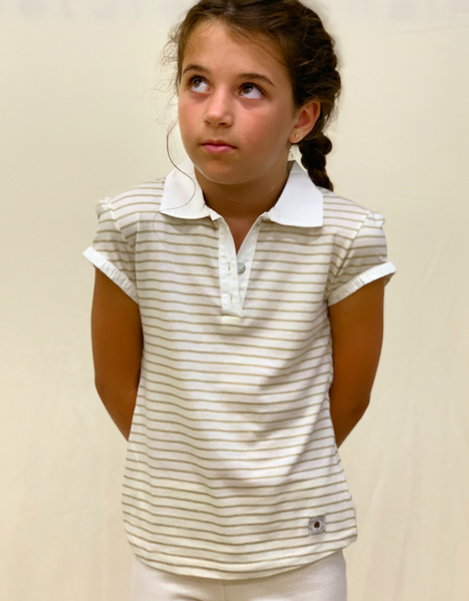 Polo shirt with short sleeve for junior with stripes. sizes 2, 4, 6 years.