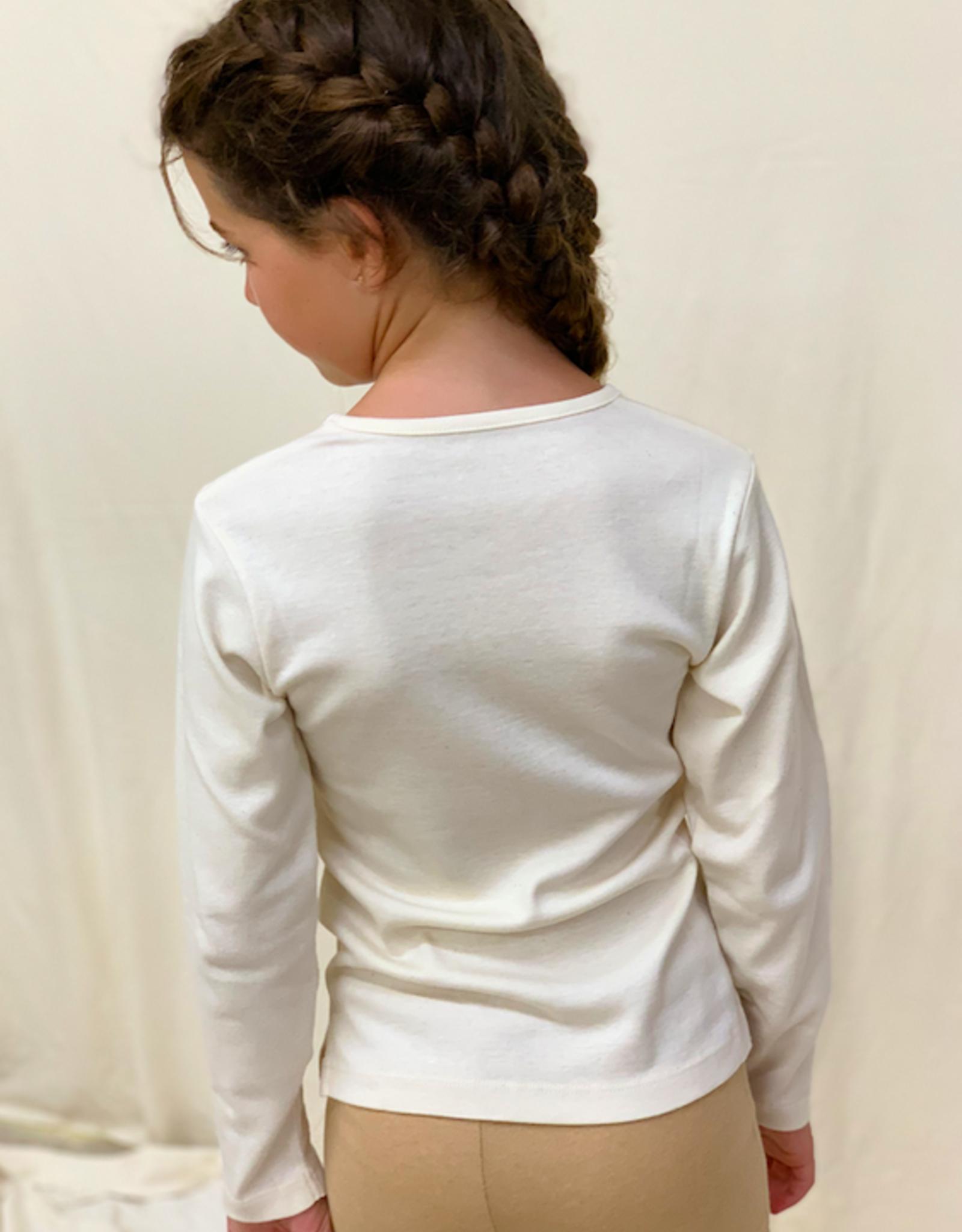 Camiseta junior manga larga con cuello de pico. Tallas 8, 10, 12 años.