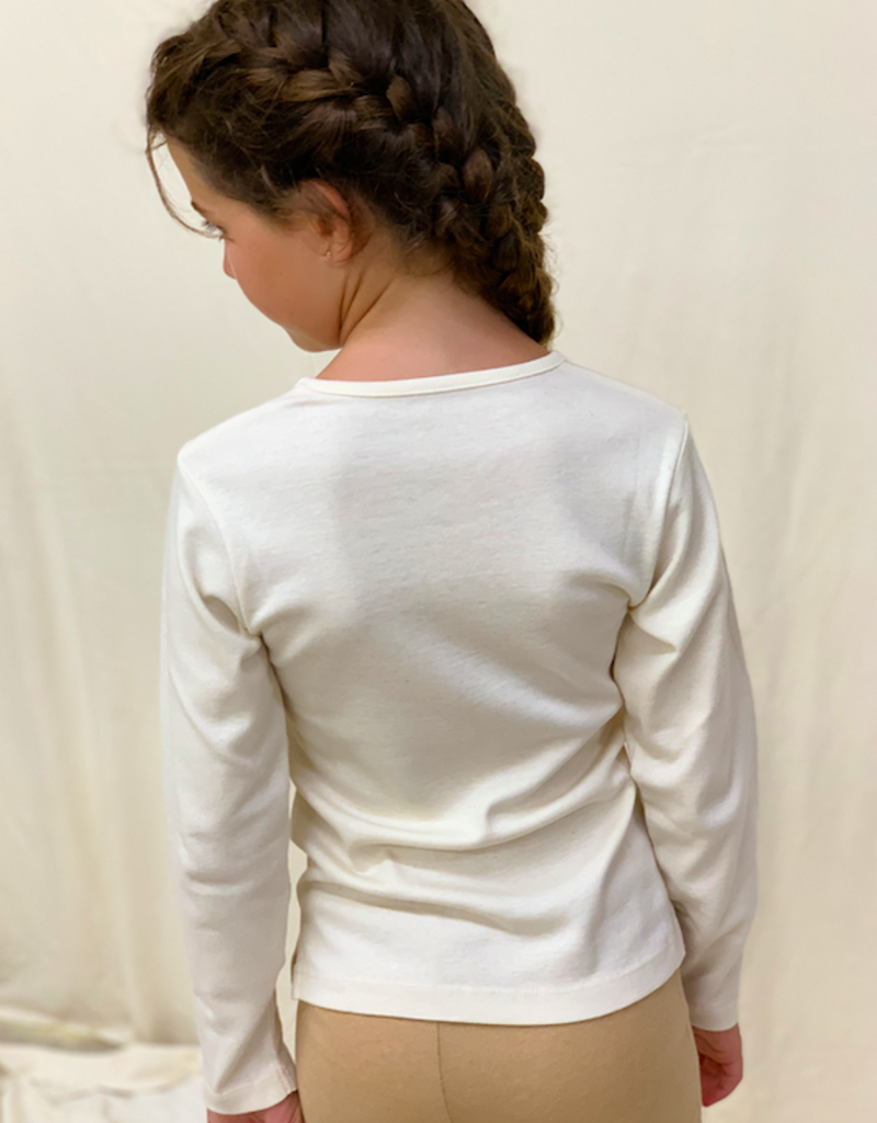 Junior long sleeve shirt with v-neck. sizes 8, 10, 12 years.