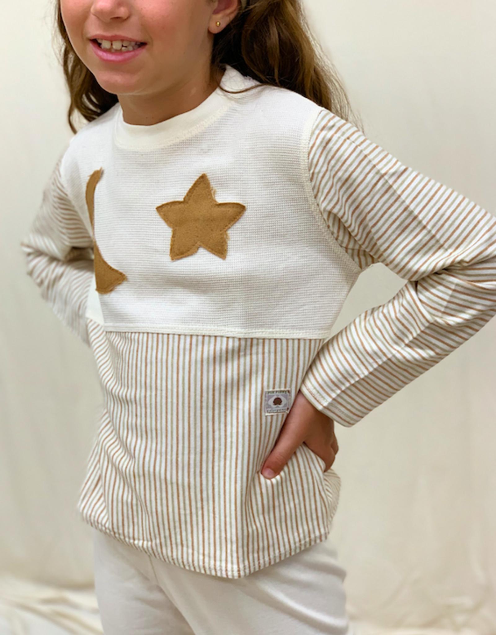 Pijama junior manga curta luna estrella. Tallas 4, 6, 8 años.