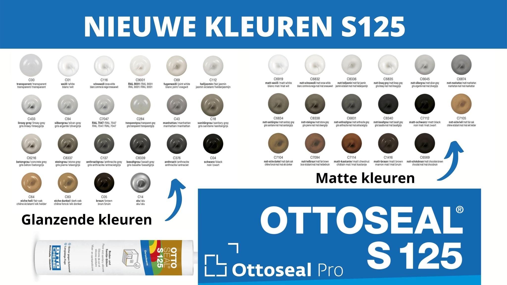 Nieuwe kleuren toegevoegd bij de Ottoseal S125