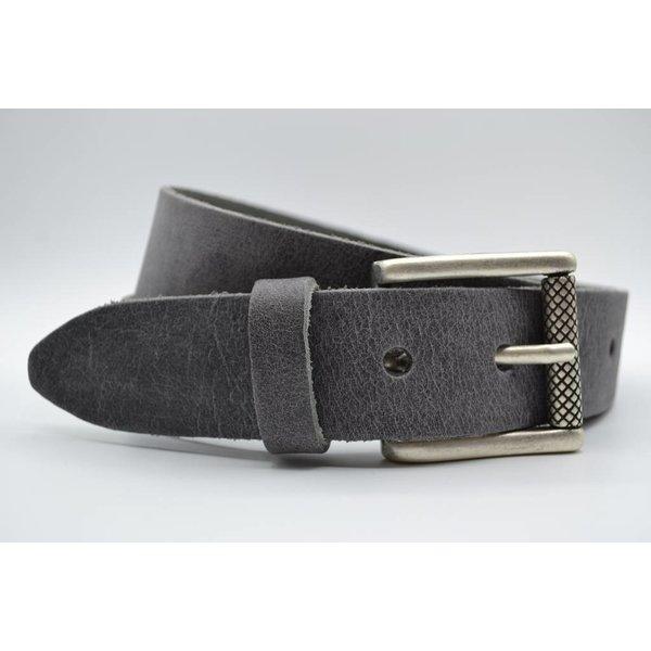 Scotts Bluf 40mm brede riem van italiaans leder met nikkelvrije oud-zilveren rolgesp