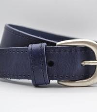 Scotts Bluf 35mm blauwe gestikt italiaans volnerf lederen riem
