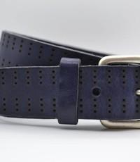Scotts Bluf 4cm triple dot gelaserde blauwe volnerf lederen riem