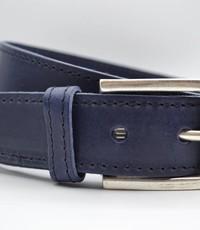 Scotts Bluf 4cm blauwe gestikt italiaans volnerf lederen riem