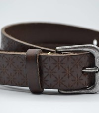 Scotts Bluf 3cm bruine kinder riem met sneeuvlok print