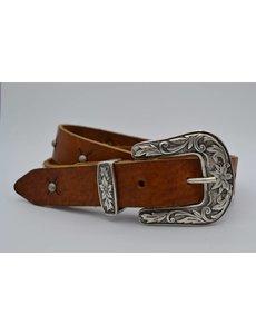Scotts Bluf 3cm Cognac western stud riem met oud zilveren gesp