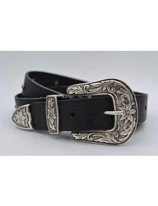 Scotts Bluf 3cm zwarte western stud riem met oud zilveren gesp